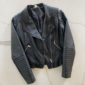 Vegan Leather Moto Jacket Black size XS